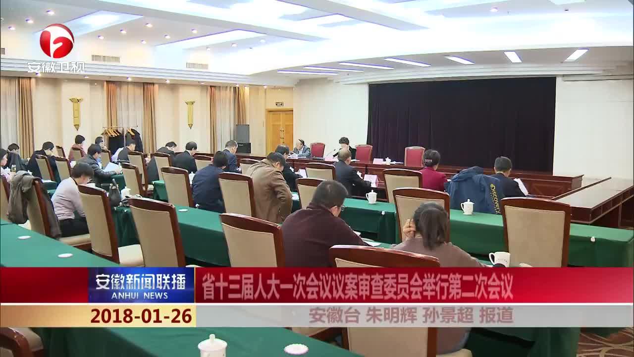 _安徽新闻联播_省十三届人大一次会议议案审查委员会举行第二次会议