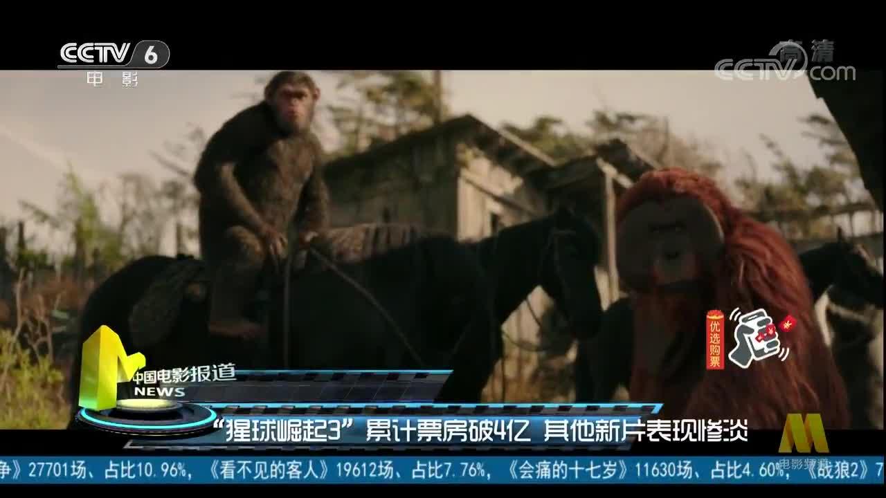 """""""猩球崛起3""""累计票房破4亿 其他新片表现惨淡"""